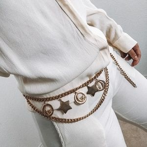 Accessories - Vintage Gold constellation charm metal belt